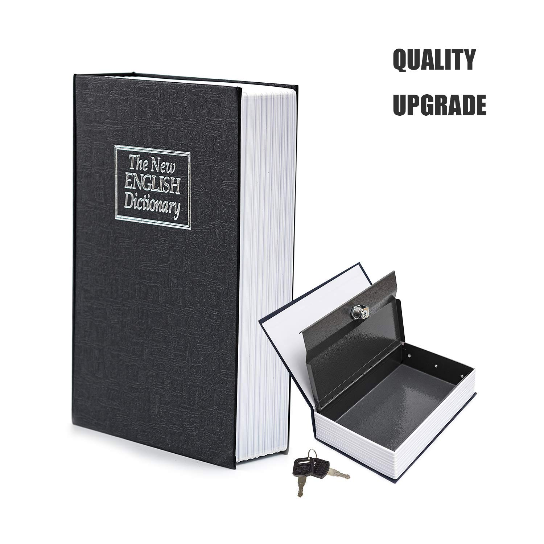 Reepow Book Safe with Key Lock Hidden Box Portable Home Dictionary Secret Metal Safe 9.5 x 6.2 x 2.2 inches Black