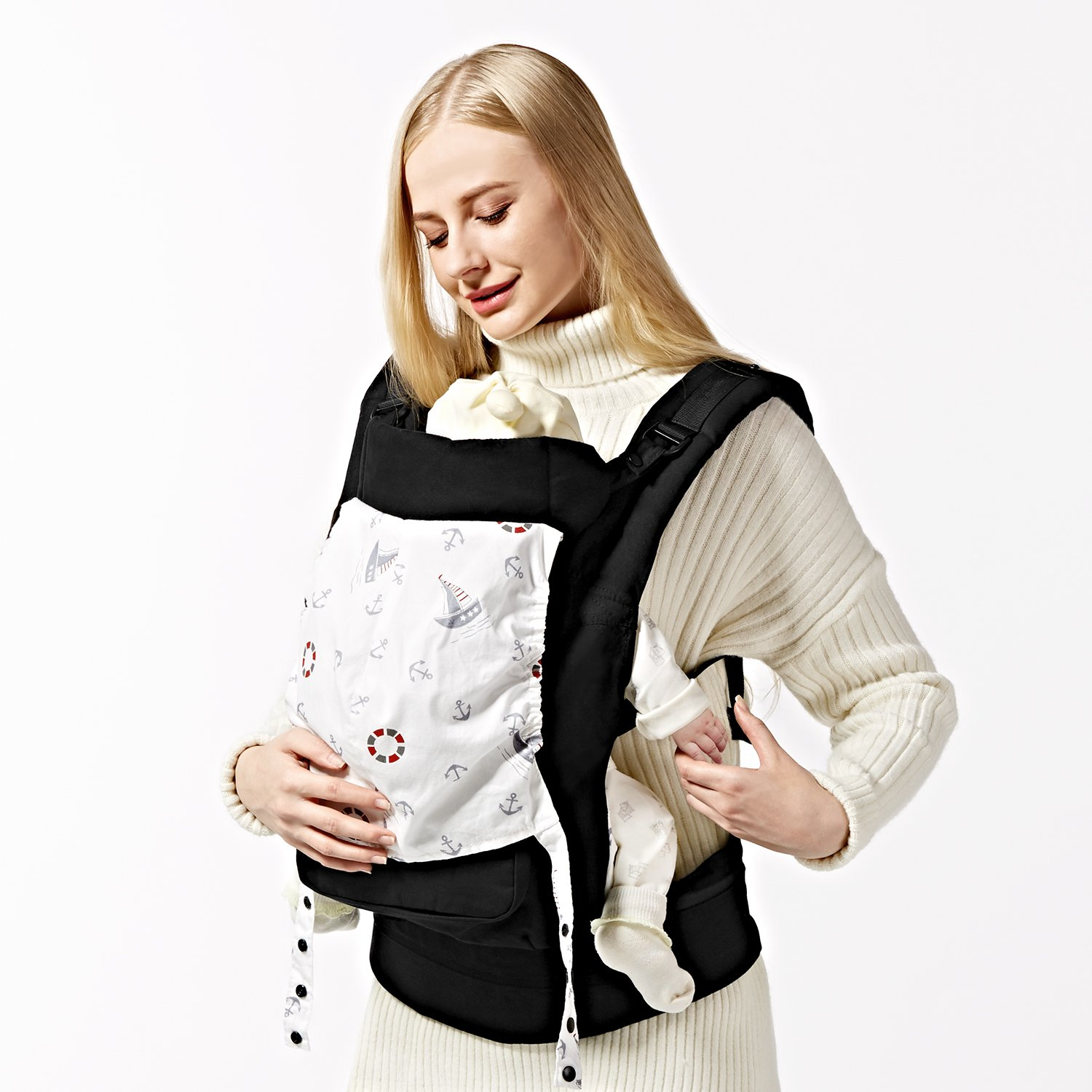 Amazon.com : GAGAKU Ergonomic Baby Carrier Soft Cotton Front and Back Child Carrier with Detachable Hood for All Seasons (5-48 Months) - Grey : Baby