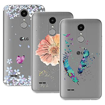 Yokata Funda para LG K4 2017, [3 Packs] Carcasa Transparente Ultra Suave Silicona TPU Case con Dibujo Anti-Arañazos Caso Cover - Mariposa + Floral + ...