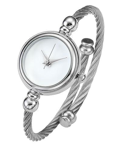 25df3e4f85f Top Plaza Womens Fashion Silver Tone Analog Quartz Bangle Cuff Bracelet  Wrist Watch, Simple Elegant