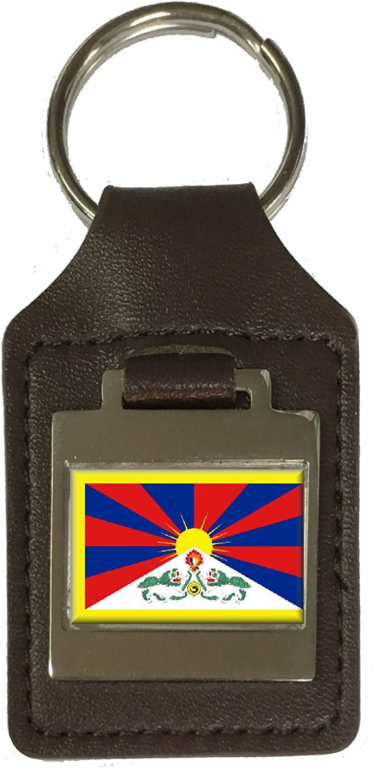 Leather Keyring Engraved Tibet Flag