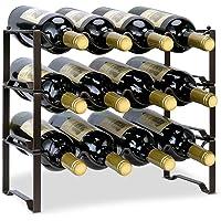 Auledio - Estante de vino apilable de 3 niveles, organizador de botellas de metal, soporte para almacenamiento de vino…