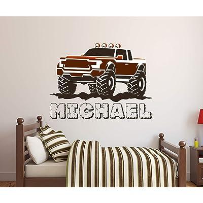 "Custom Monster Truck Name Wall Decal - Trucks Wall Decals - Nursery Wall Decals - Trucks Decor - Baby Nursery Art Decor Vinyl Sticker (36""W x 28""H): Baby"