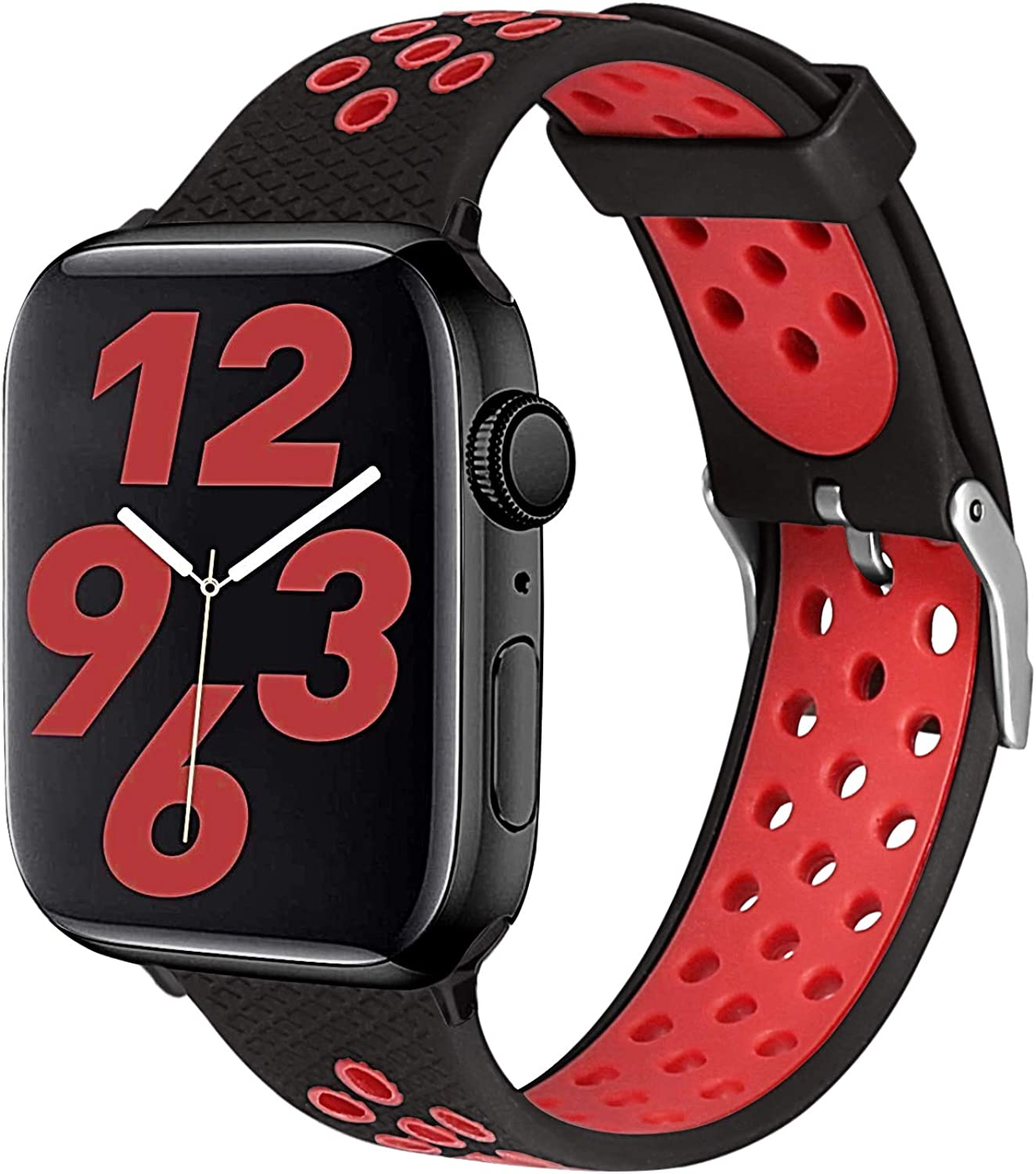 SKYLET Compatible with Apple Watch Bands 44mm 40mm Series 6/5/4/SE 42mm 38mm Series 3/2/1 Men Women, Soft Sport Silicone Breathable Wristbands Replacement iWatch Straps