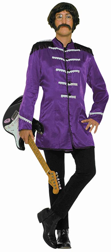 60s -70s  Men's Costumes : Hippie, Disco, Beatles Forum 60s Revolution British Invasion Pop Star Costume Purple One Size $27.16 AT vintagedancer.com