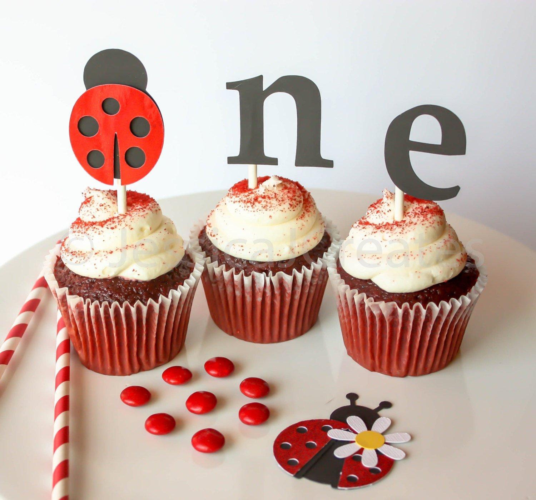 Fantastic Amazon Com Ladybug Cupcake Toppers Ladybug Party Decor First Funny Birthday Cards Online Kookostrdamsfinfo