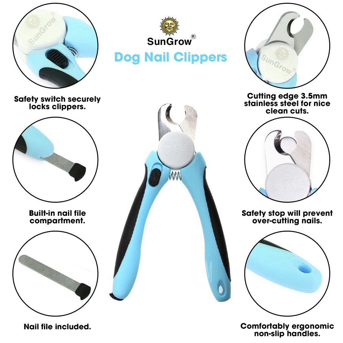 Amazon No pain Dog Nail Clipper & Trimmer Safety Switch to