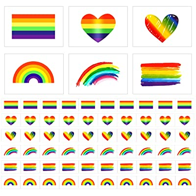 Phogary LGBT Temporary Tattoos (60pcs, 6 Designs), Rainbow Tattoos (Approx. 5x4cm), Waterproof Body Paints Decals for Gay Pride Celebration, Party, Wedding: Health & Personal Care