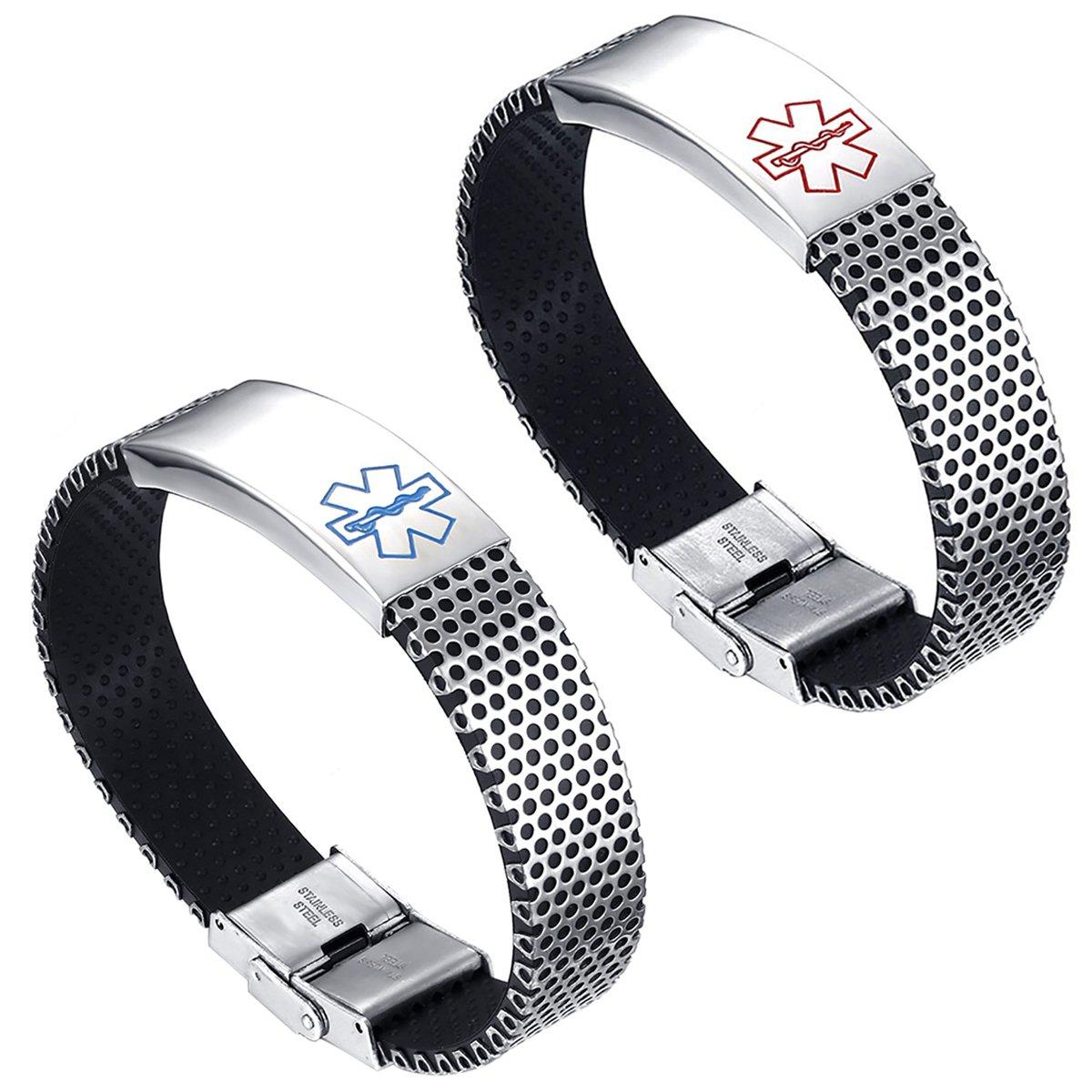 Flongo Custom Engraved Stainless Steel Lovely Medical Alert Bracelet ID Tag Wristband Bangle, 7.87 inch F066004