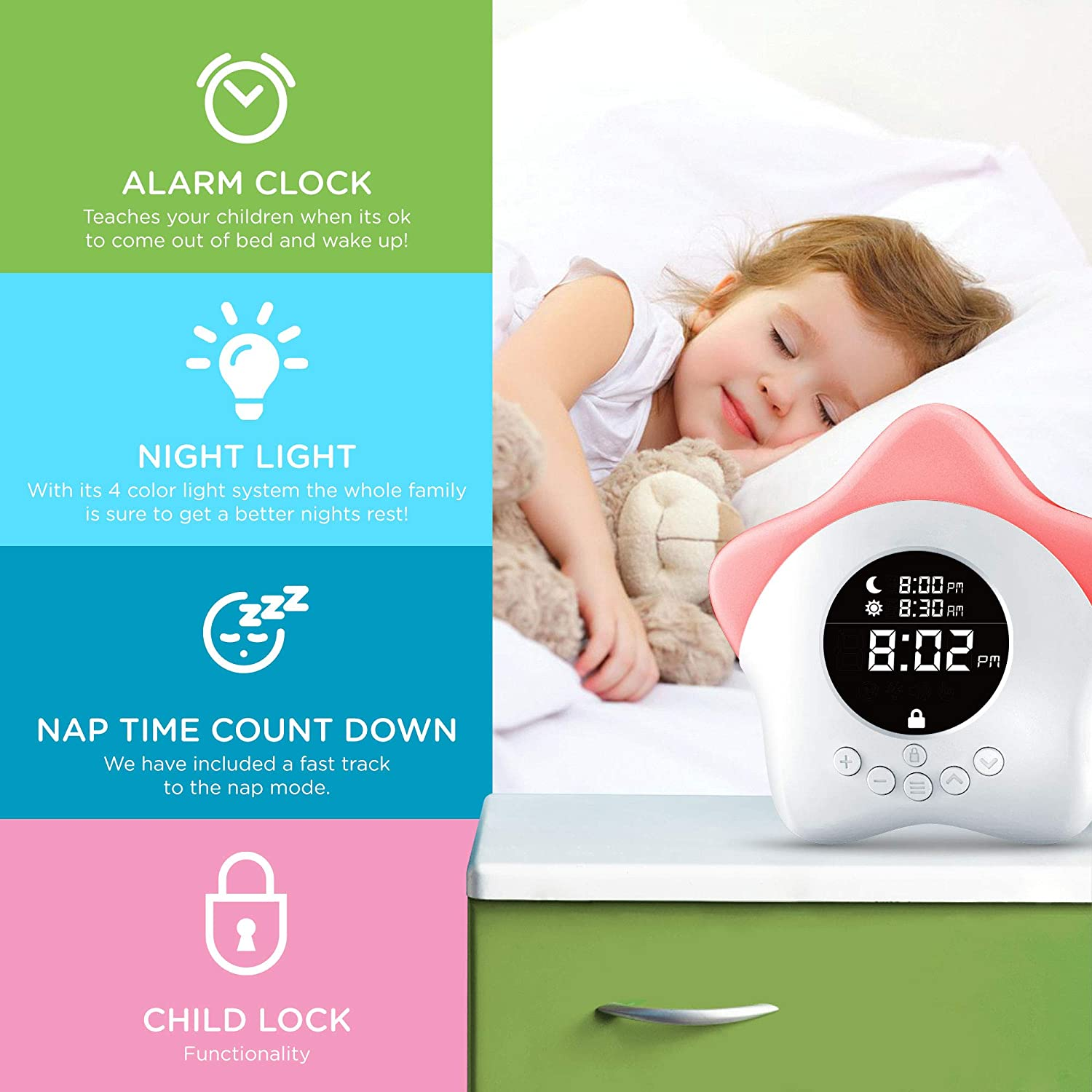 Learn /& Climb Kids Ok to Come Out of Bed Clock White, 2 Pack