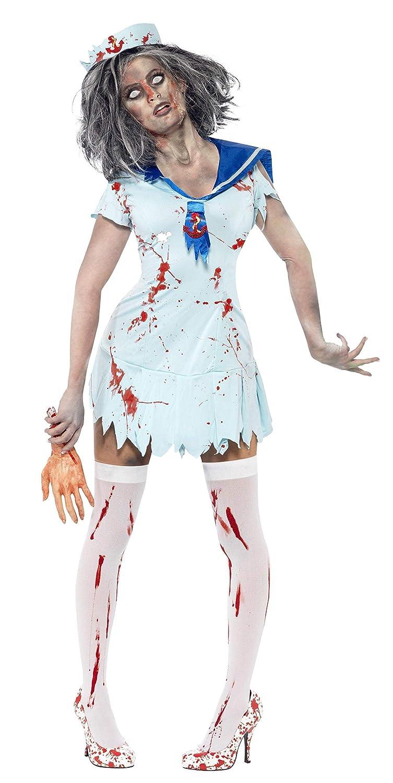 Zombie Cheerleader Costume Horror Costume Halloween Outfit ROSSO NERO M 40//42