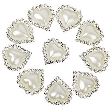 Image Unavailable. Image not available for. Color  10pcs Heart White Faux Pearl  Button Flatback Embellishment 20mm ... eec142f0b31b
