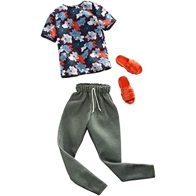 Barbie Clothes: 1 Outfit for Ken Doll Includes Floral Shirt, Jogger Pants & Sandals, Gift for 3 to 8 Year Olds: Toys & Games