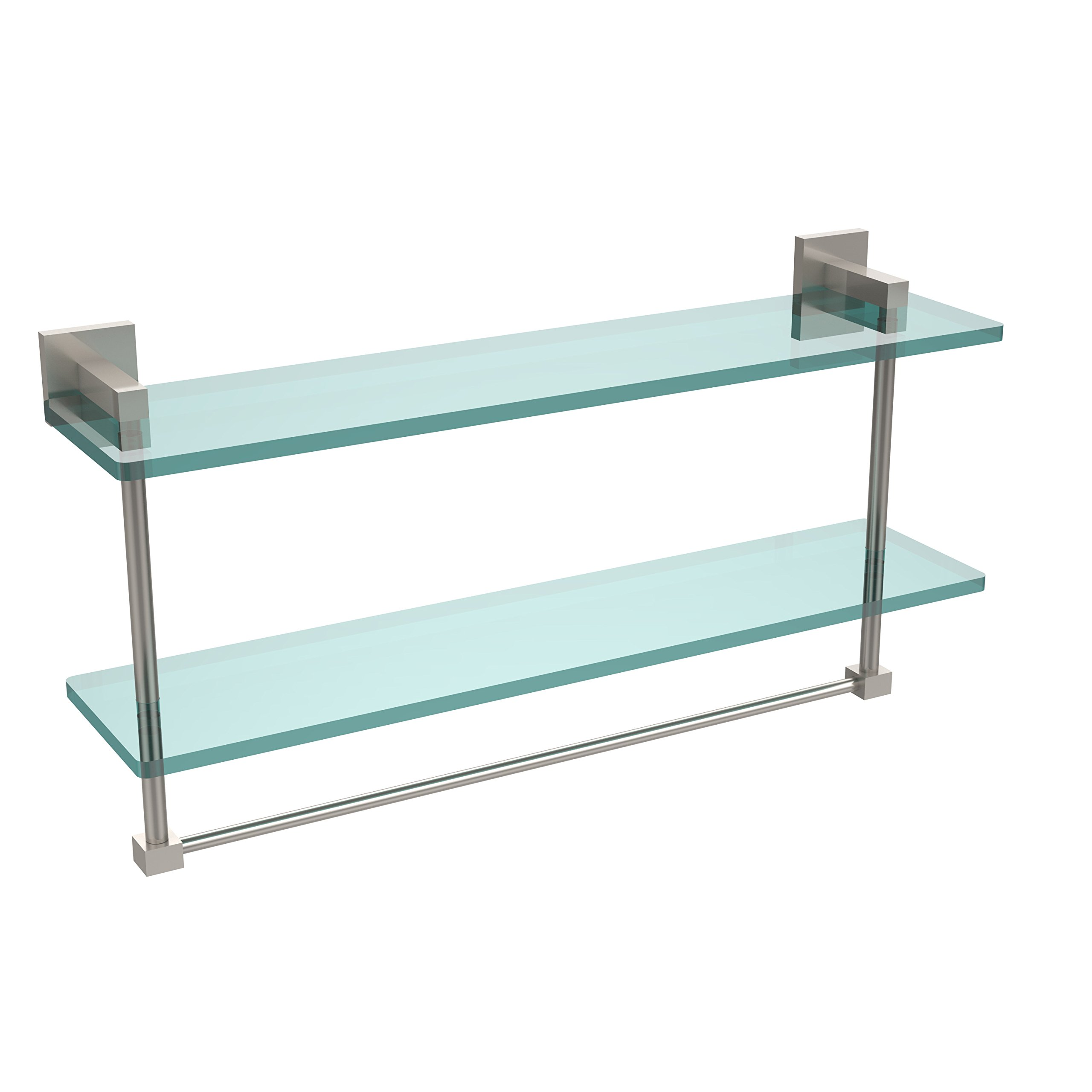 Allld|#Allied Brass MT-2-22TB-SN Montero Collection 22 Inch Two Tiered Glass Shelf with Integrated Towel Bar,