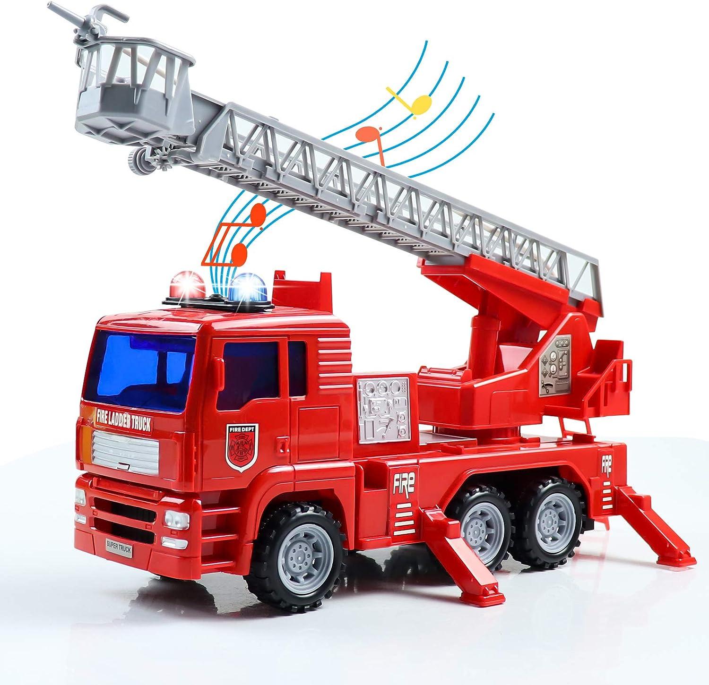 Camion Bomberos Coches de Juguetes con Luz, Sonido y Bomba de Aagua Camiones de Juguete Camión Bomberos Grande Electrico Juguetes Educativos Regalos Navidad Cumpleaños Juguetes Niños 3 4 5 6 Años