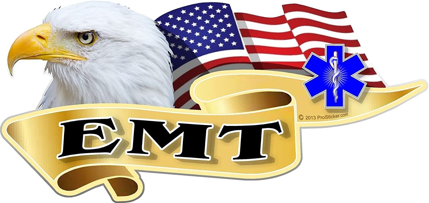 "ProSticker 920 (One) 3"" X 6"" American Pride Series EMT Bald Eagle Decal Sticker"