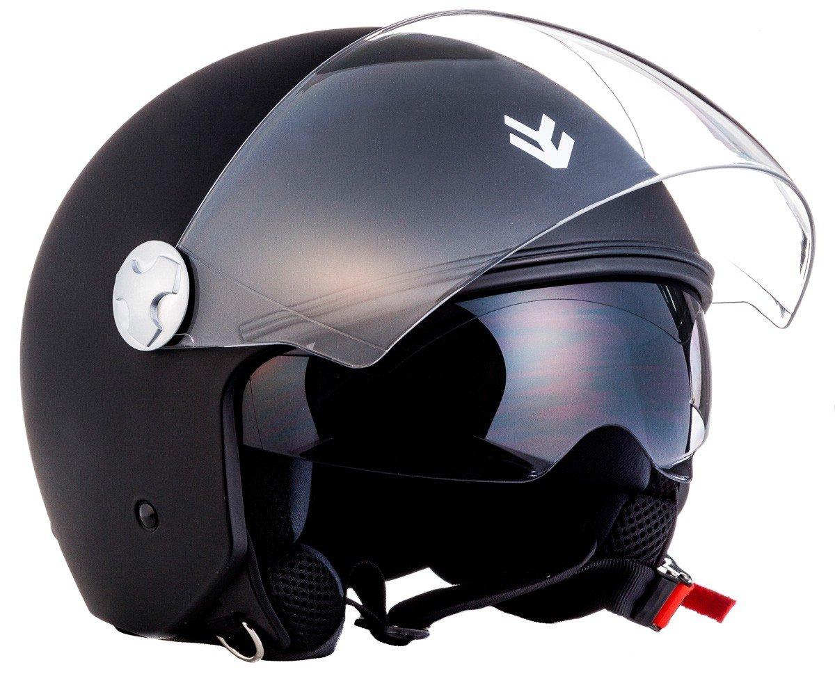 "Armor /· AV-63 /""Italy Creme/"" /· Casque Moto Jet /· Demi Jet Retro Cruiser Scooter Helmet Chopper /· ECE certifi/é /· Separate Visors /· Click-n-Secure/™ Clip /· Sac fourre-tout /&midd yellow"