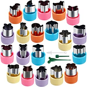 Vegetable Cutters Shapes Set, Stainless Steel mini Sizes Cookie Cutters Set ,Fruit Cookie Pastry Stamps Mold for Kids Baking and Food Supplement Tools Accessories Crafts --20pcs