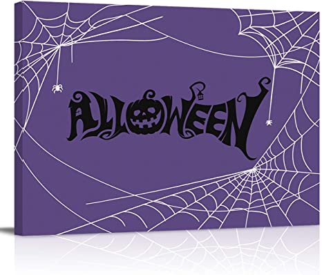 Amazon Com Canvas Wall Art Halloween Purple Spider Web Modern Wall Decor Gallery Canvas Wraps Giclee Print Stretched And Framed Ready To Hang 8 X 12 Posters Prints