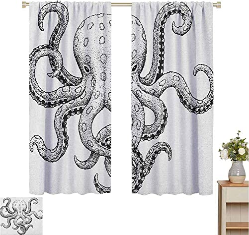 Homrkey Window Curtains Octopus Sketch Style Print of Deadly Blue Ringed Octopus Camouflage Marine Animal Aquatic for Living Room or Bedroom W84 x L84 Inch Ecru Black