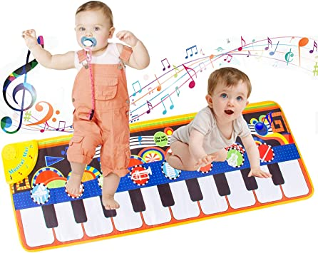 Amazon.com: LROTBESY Musical Toys for Toddlers, Kids Baby Floor Piano Dance  Mat (Blue): Toys & Games