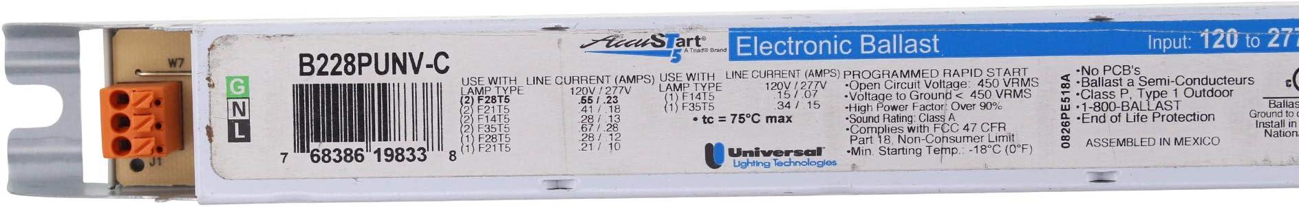 28W T5 UNIVERSAL B228PUNV-C ELECTRONIC FLUORESCENT BALLAST 120//277V 2 LAMP