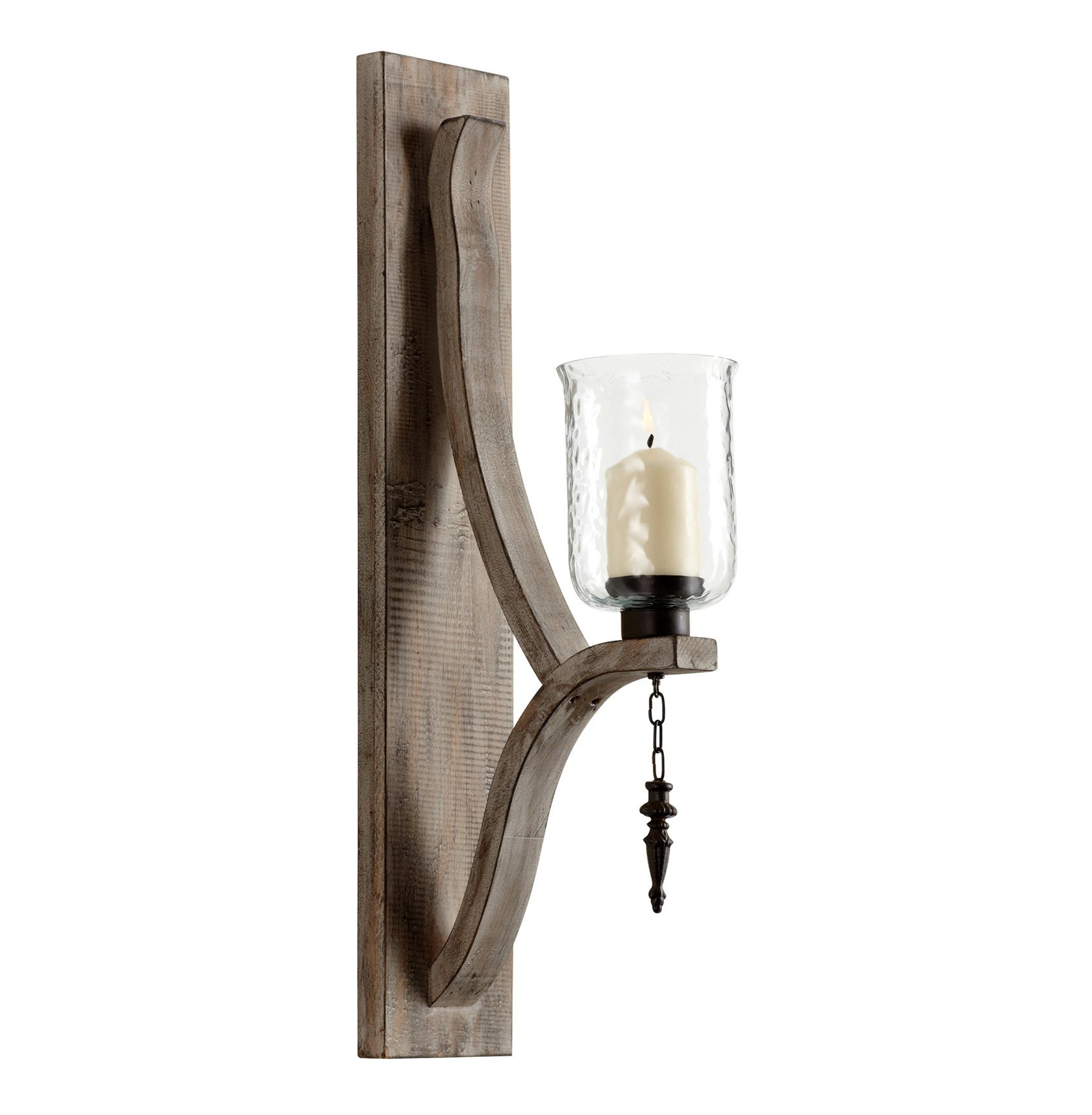 Giorno Country Rustic Chunky Wood Candle Sconce