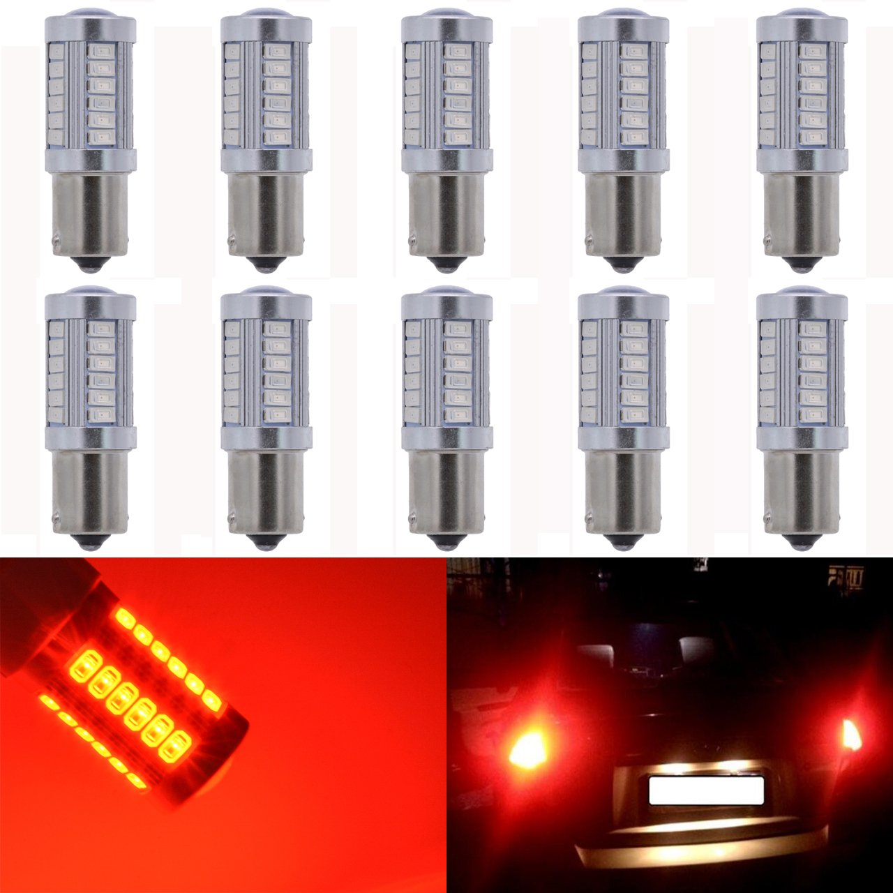 KaTur 10-Pack á mbar Super Brillante 750lums 1157  BAY15D 1016  1034  1196  2057  2357  Base 27  SMD 5050  LED de Repuesto para Coche incandescencia Bombilla RV Camper Freno Gire Lá mpara Luces DC 12&nb