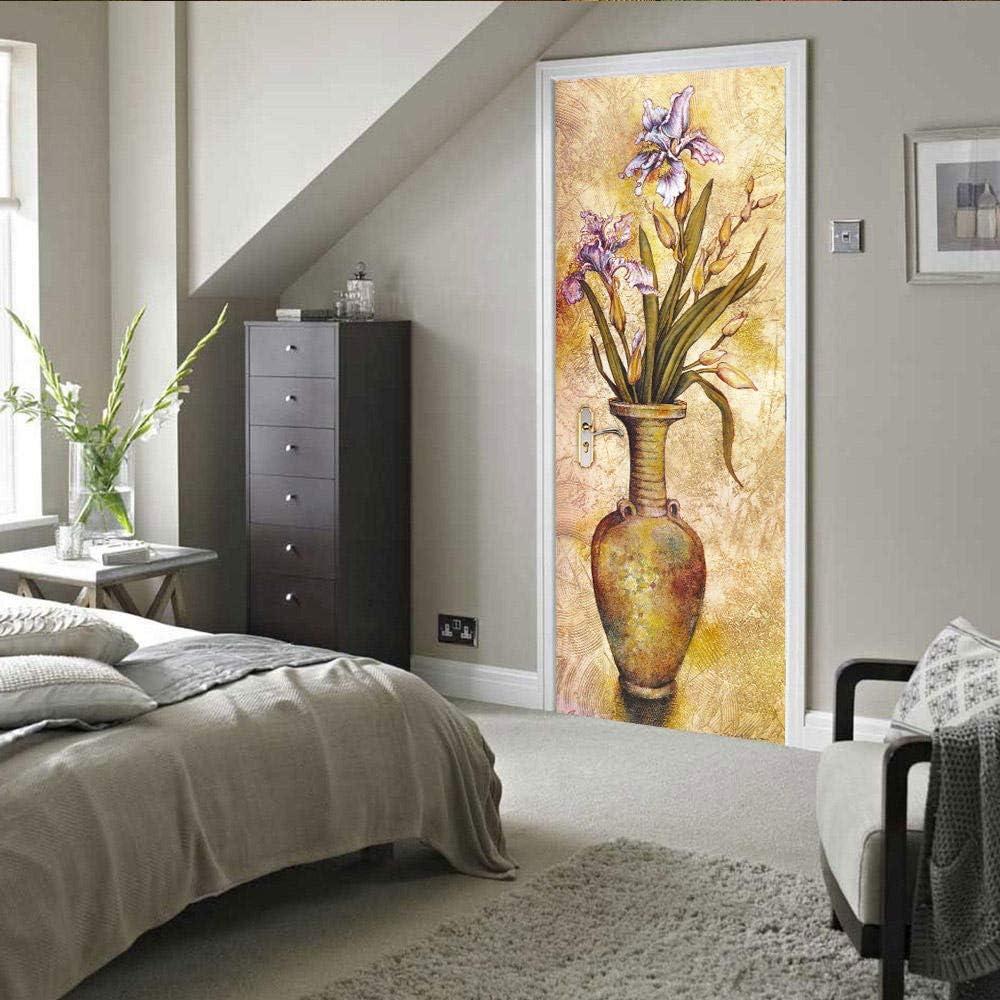 Fototapeten-T/ürfolien 3DWallflexi T/ürtapete Selbstklebendes T/ürposter Vase Plakat-Tapetenmeer des 30.3x78.7 77x200cm - Wandbild