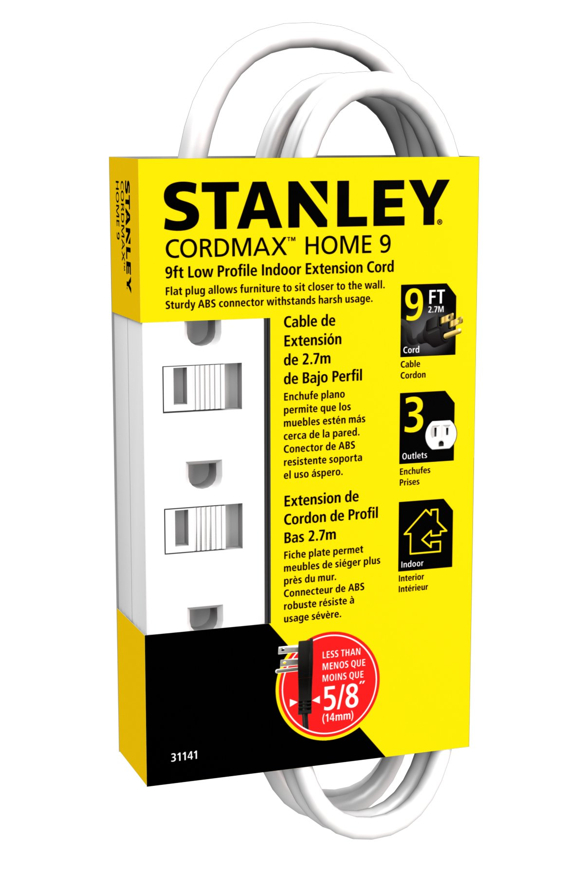 Stanley 31141 Cordmax Home 9 Grounded Low Profile 3-Outlet Indoor Extension Cord, 9Ft White,