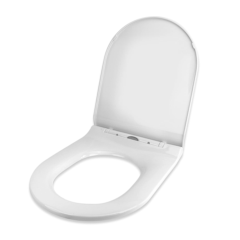 ProWarm Abattant WC antibact/érien avec charni/ères /à fermeture douce en UF Blanc