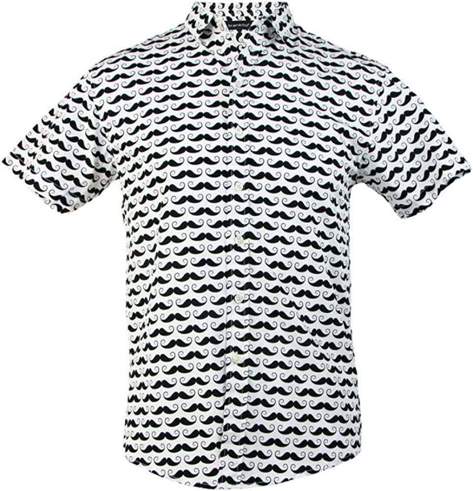 TRANKILO Camisa Estampado Hipster Blanca de Bigotes (XL): Amazon.es: Ropa y accesorios