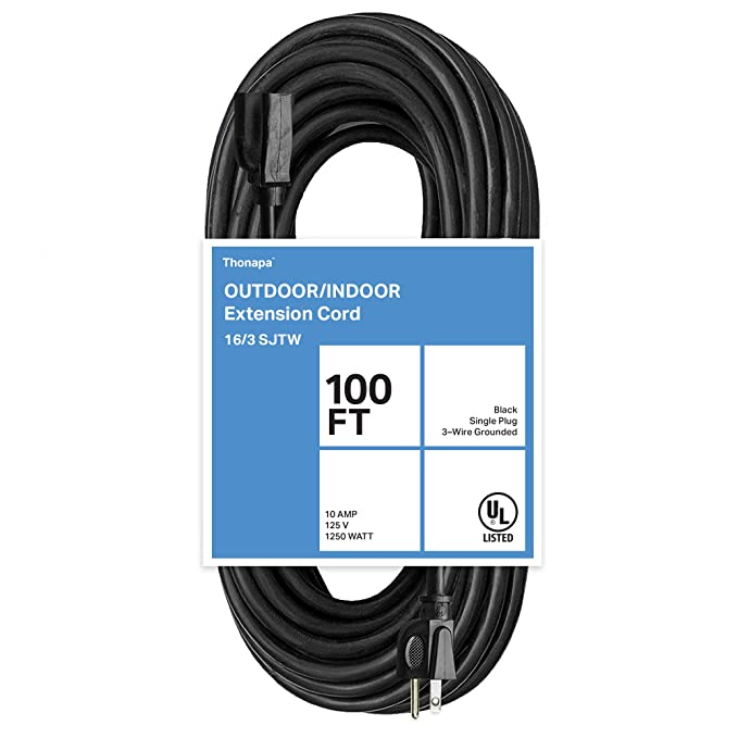 Thonapa 100 Ft Black Extension Cord - 16/3 Electrical Cable with 3 ...