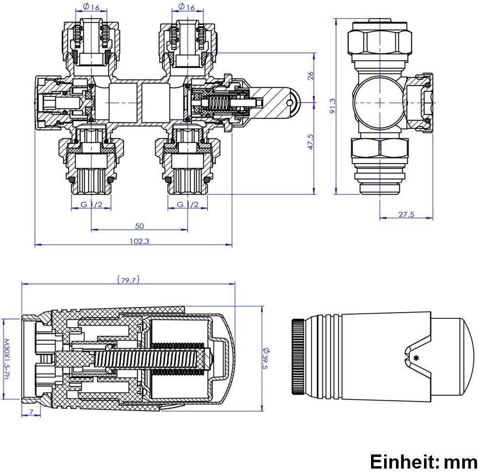 Anschlussarmatur Universal f/ür Eck und Durchgangsform 50mm Ventil-Armaturen Set Multiblock Hahnblock mit Thermostat M30x1.5mm f/ür Heizk/örper 2 St/ück Chrom