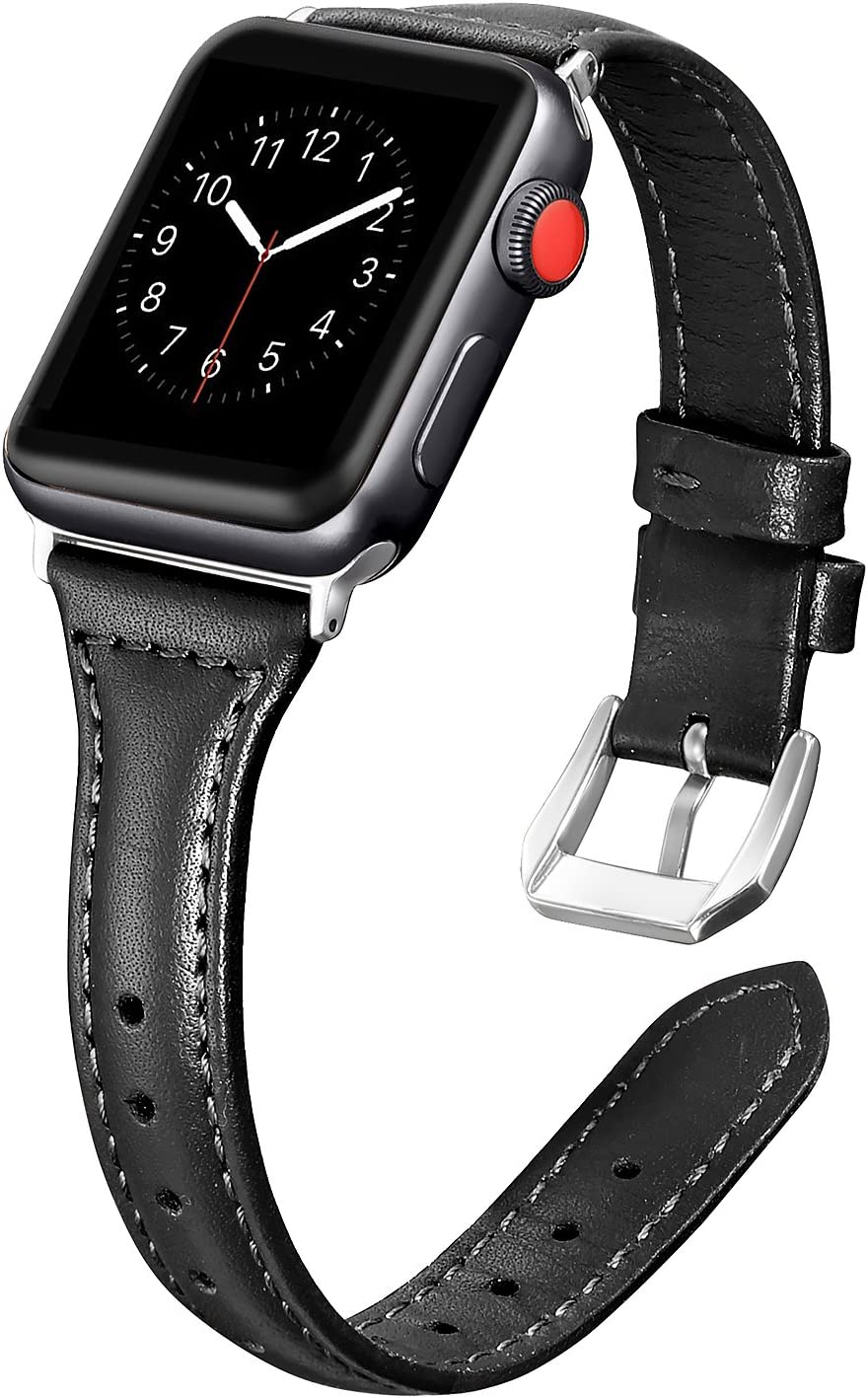 Secbolt Leather Bands Compatible Apple Watch Band 38mm 40mm Iwatch Series 6 5 4 3 2 1 SE Slim Replacement Wristband Strap Stainless Steel Buckle, Black