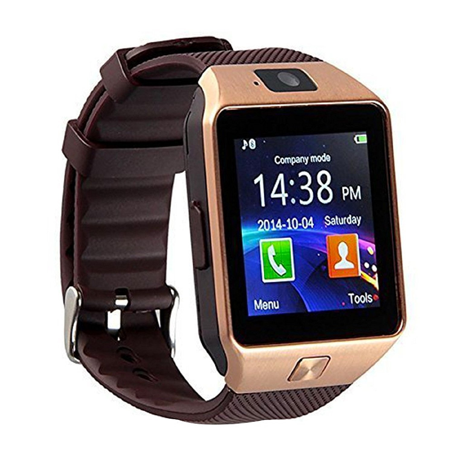 DZ09 Bluetooth Smart Watch Touch Screen with Camera, SIM Card TF/SD Card Slot, Pedometer Activity Tracker for iphone android phones Samsung HUAWEI PK GT08 A1 (Gold)