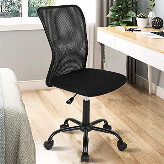 Amazon Com Ergonomic Desk Chair Mid Back Mesh Chair Height Adjustable Office Chair Home Office Chair Modern Task Computer Chair No Armrest Executive Rolling Swivel Chair With Casters Black Kitchen Dining