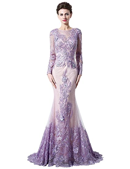 Sarahbridal Womens Mermaid Long Sleeves Appliques Evening Dress Prom Gown US12 Purple