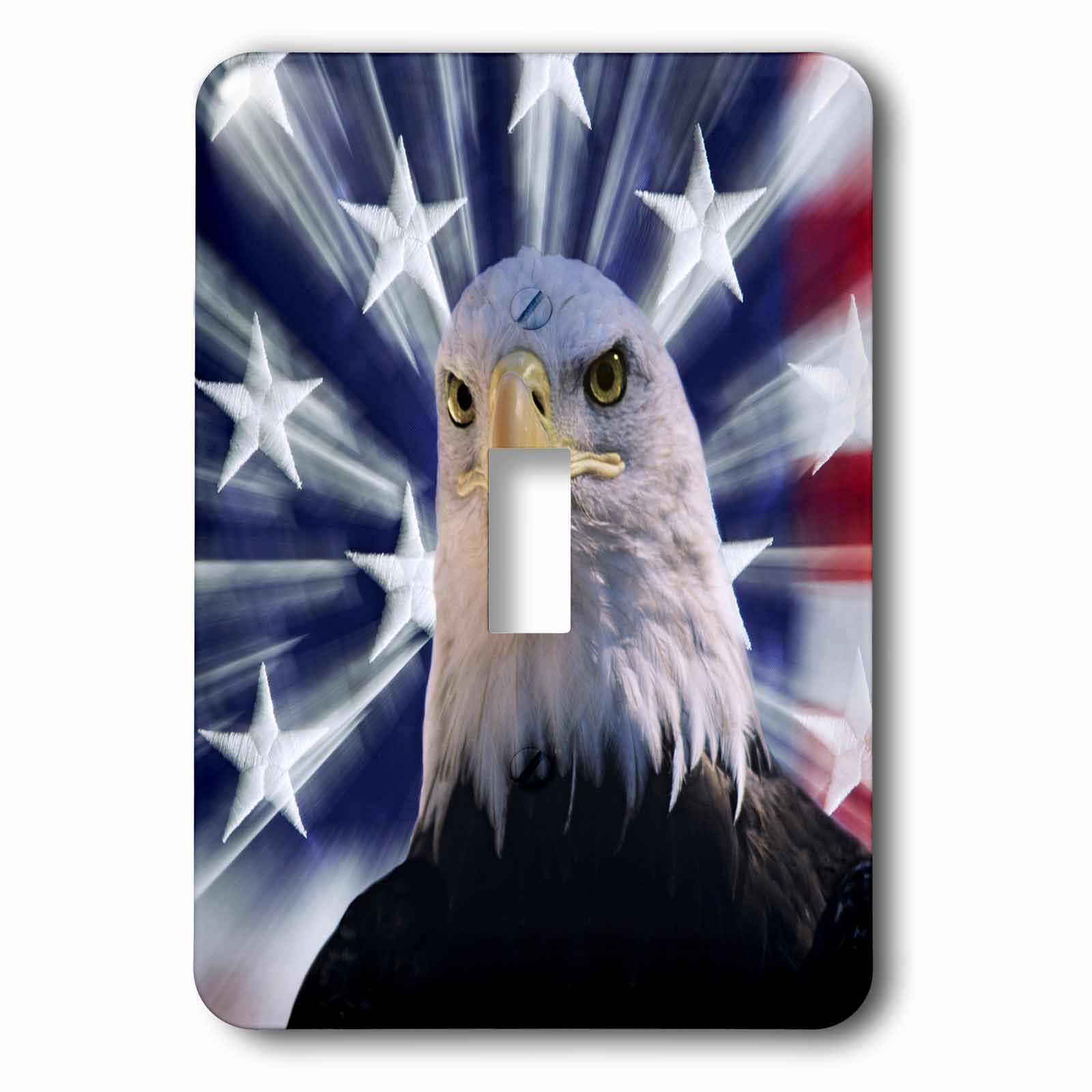 3dRose LSP_278587_1 USA, California. Composite of Bald Eagle and American Flag Toggle Switch, Multicolor