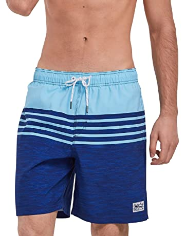 4ed4636037 QRANSS Mens Waterproof Striped Swim Trunks Lightweight Quick Dry Beach  Shorts