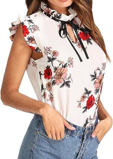 Qingsiy Camisetas Mujer Blusa Suelta De Mujer Manga Corta Camiseta con Estampado Tops Fit Slim Camisa Escote del O-Cuello Top De La Moda Mujer De Camiseta Tops Mujer Verano: Amazon.es: Ropa y
