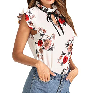 MISYAA Womens Tops Floral Patterned Camisoles Sport Tops Shirts Party Mandi  Gras Bestie Gifts(White 8706d11ff