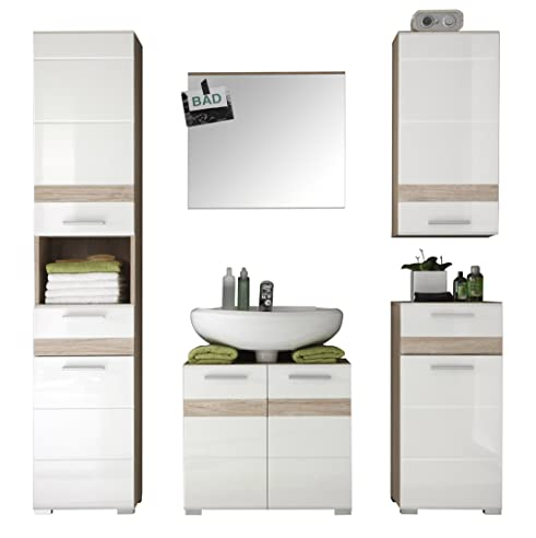 Trendteam Badezimmer 5 Teilige Set Kombination Set One, 159 X 182 X 34 Cm