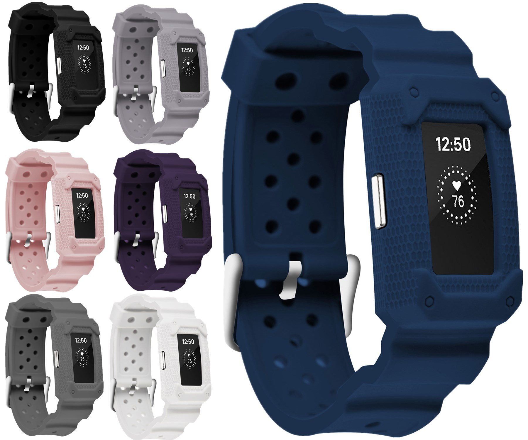 Moretek for Charge2 band Tough Hard Shock-Resistant Hybrid Cover Dual Layer Armor Defender Case wrist strap for Fitbit Charge 2 Replacement bands (Blue)
