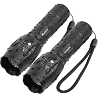 2-Pack Flashlights iCoostor T6 Handheld LED Torches Waterproof Flashlight