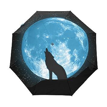 Bennigiry Lobo Aullando A La Luna Llena 3 Plegable Paraguas