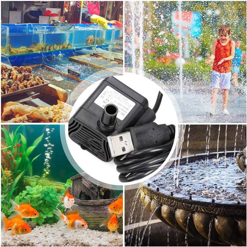 Baiwka Pompe /à Eau Submersible /étang//Aquarium Mini-Fontaine Fonctionnelle Multifonctionnelle pour Mini-Bassin Pompe Submersible USB pour Fontaine De Chat//Fontaines pour Animaux De Compagnie