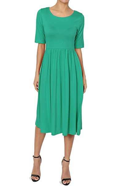 4beece6a2e646 TheMogan Women's Half Sleeve Empire Waist Fit & Flare Pocket Dress Kelly ...