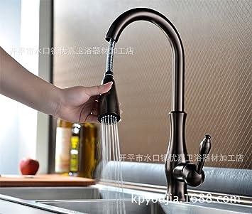 Neu Ziehen Sie Spültisch Armatur Braun und Bronze Wasserhahn Dusche  WB59
