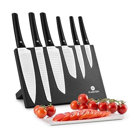 Klarstein Kashira Juego de cuchillos - Portacuchillos , Cuchillos de cocina , Alta calidad y hojas muy afiladas , 6 Tamaños , Diseño japonés , ...